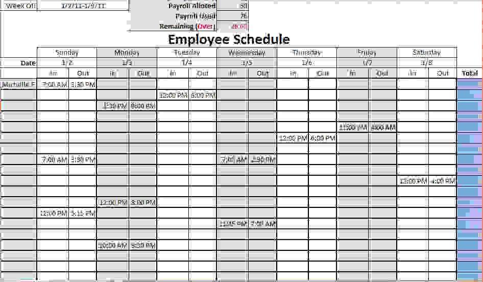 7+ work schedule templates | Procedure Template Sample