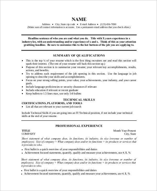 Sample One Page Resume   9+ Examples In Word, PDF