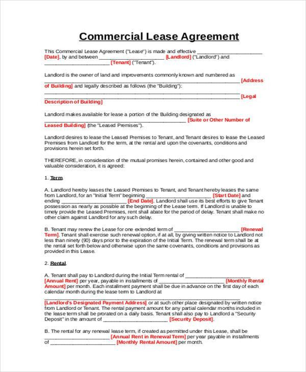Business Rental Agreement. Free Commercial Rent Agreement 18+ Rent ...