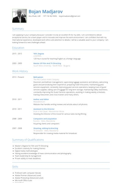 Captain Resume samples - VisualCV resume samples database