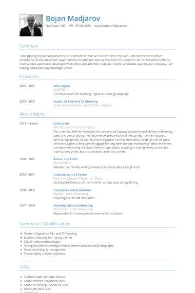 Captain Resume samples - VisualCV resume samples database