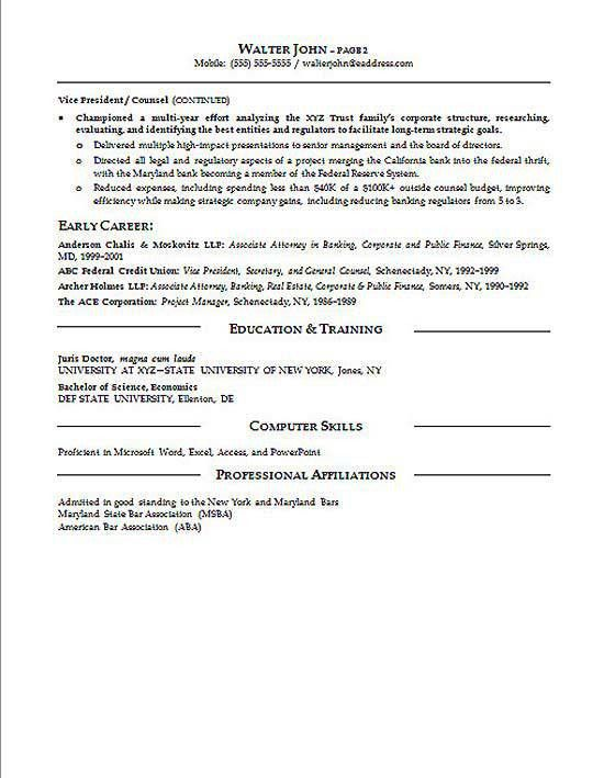 General Counsel Resume Example | Resume examples and General counsel
