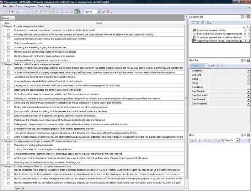 Property management checklist - To Do List, Organizer, Checklist ...