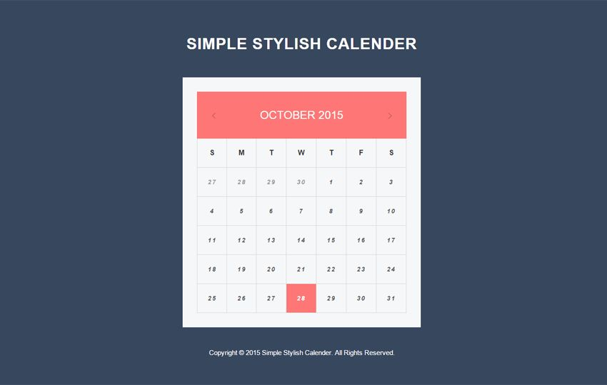 Simple Stylish Calendar Responsive Widget Template by w3layouts