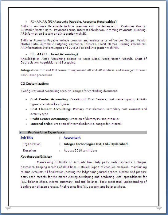 Terrific Sap Fico Sample Resume 3 Years Experience 89 On Resume ...