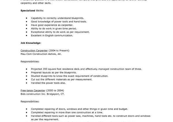 Carpenter Resume sample objective specialized skills - Writing ...