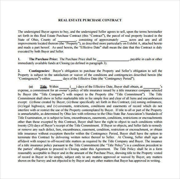 Sample Real Estate Purchase Agreement - 7 + Examples, Format