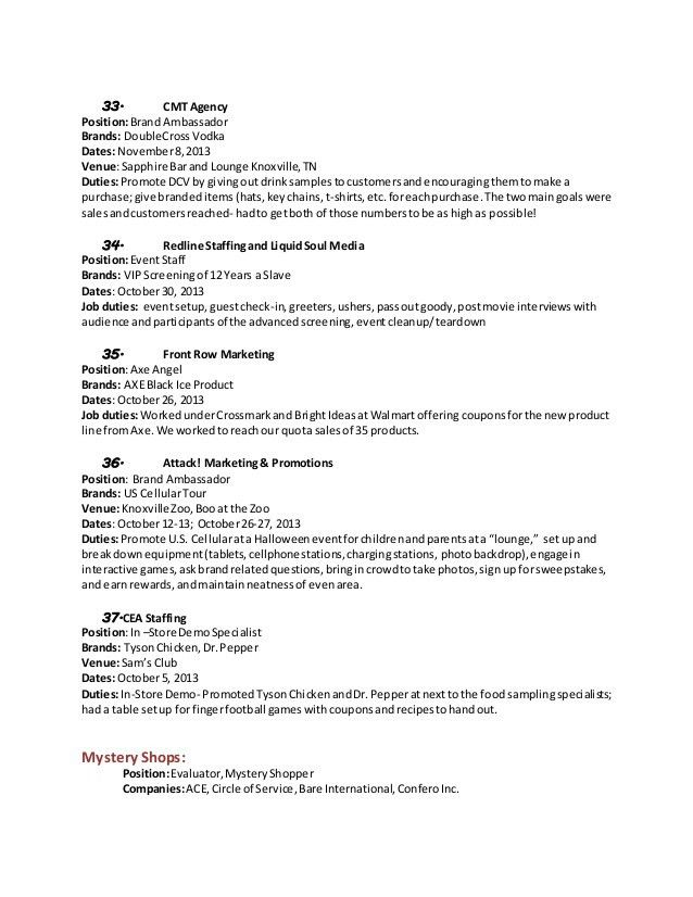 Promotional Resume