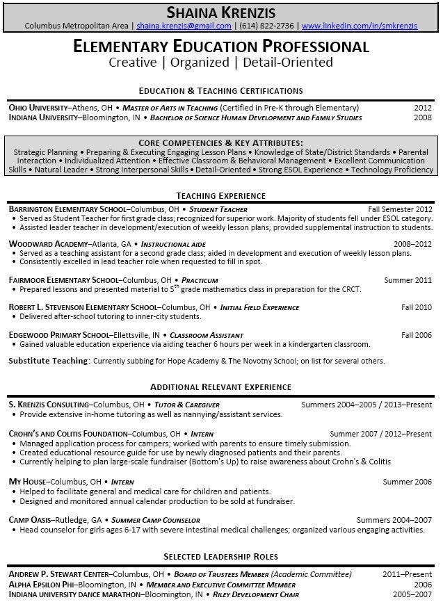 teacher resume objective statement examples