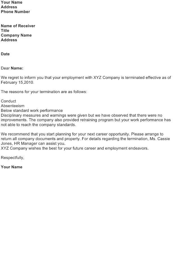 Termination Letter Sample - Download FREE Business Letter ...