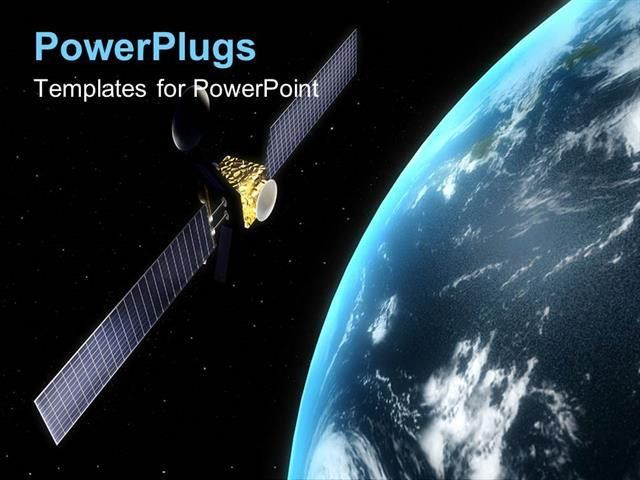 PowerPoint Template: Satellite in orbit rotating round the earth ...
