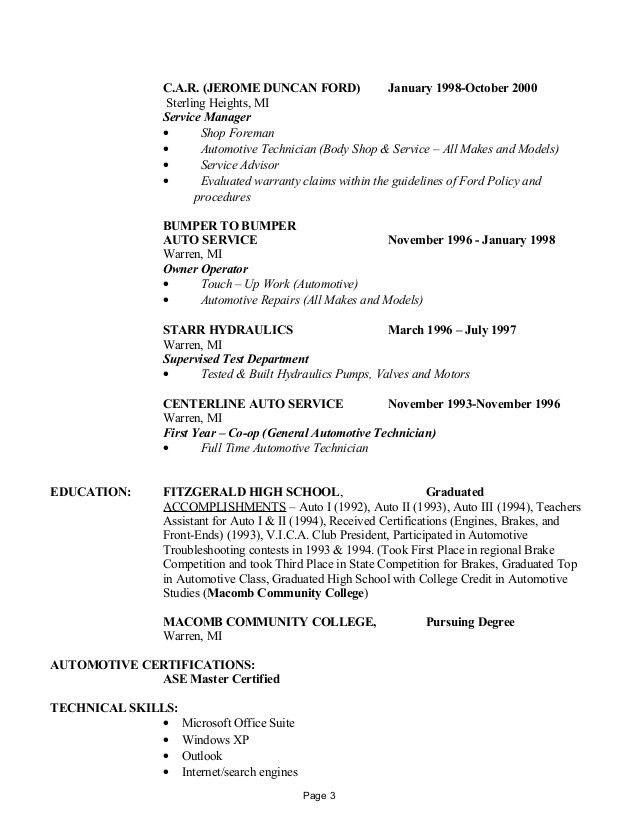 Resume for automotive service advisor