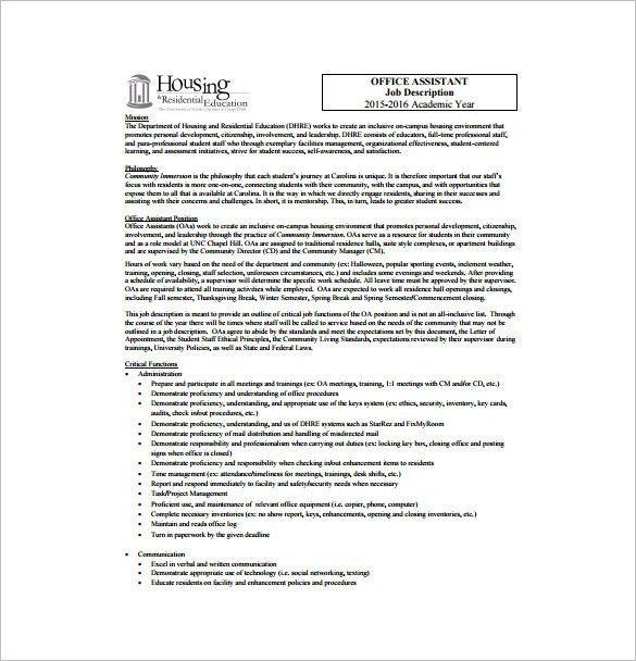 12+ Legal Assistant Job Description Templates - Free Sample ...