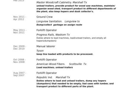 14 Forklift Operator Resume Sample 2 Sample Resumes, Forklift ...