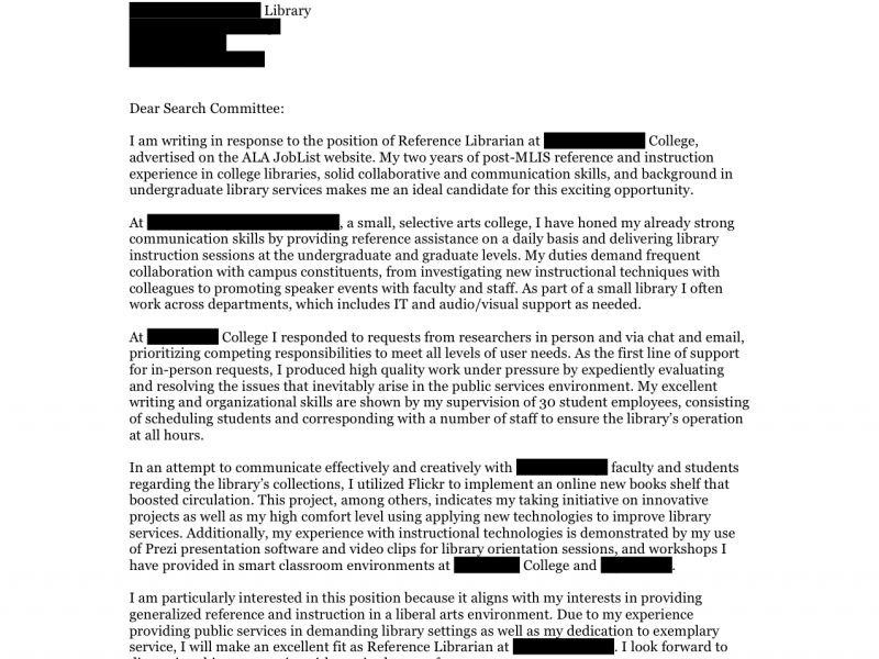 Extremely Inspiration Librarian Cover Letter 6 Reference Cover ...
