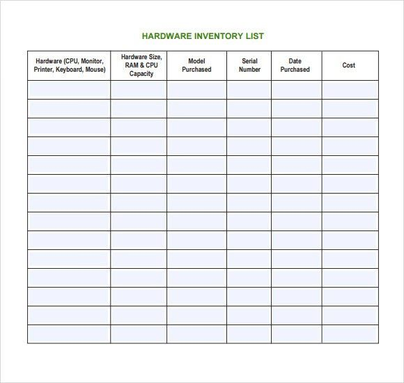 Asset Inventory Template. Office Supply Inventory List Template ...