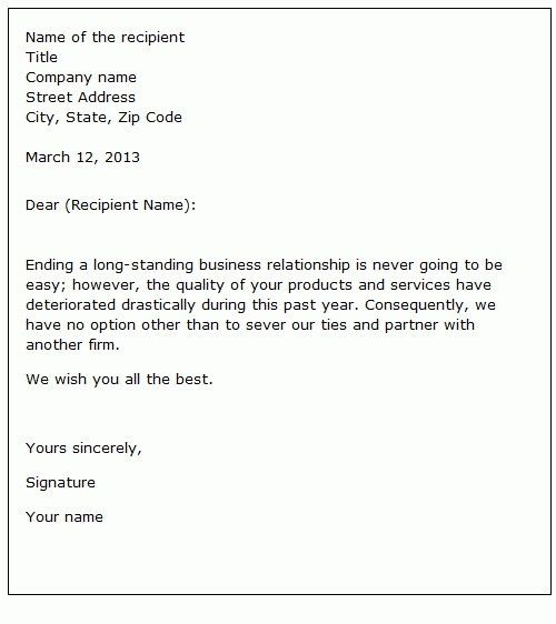 Termination Of Business Relationship Letter | The Letter Sample
