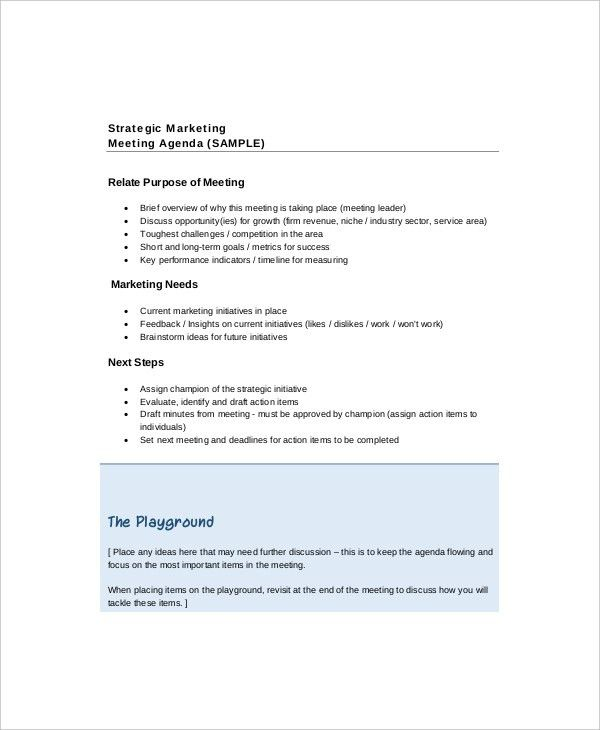12+ Strategy Meeting Agenda Templates – Free Sample, Example ...