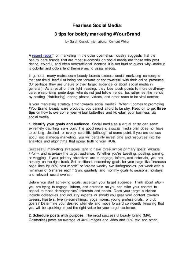 Sarah Cusick Color Cosmetics and Social Media Article Writing Sample
