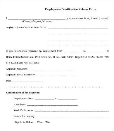 employment verification forms template - thebridgesummit.co
