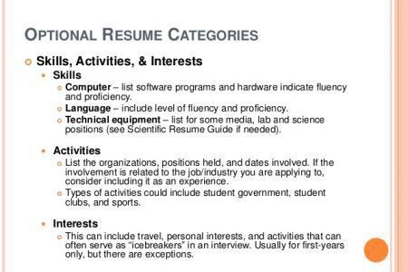 Skills And Interests On Resume - Reentrycorps