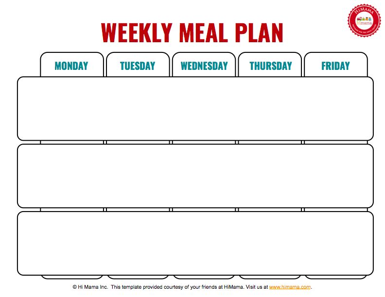 3 Meal Day Care Weekly Menu Template (Mon-Fri) | Day Care Menu ...
