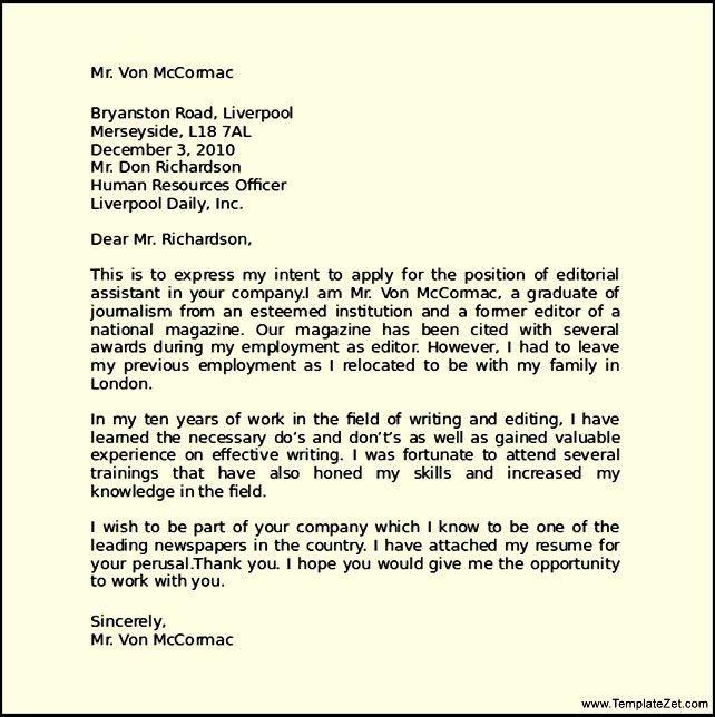 Letter of Intent Job Application | TemplateZet