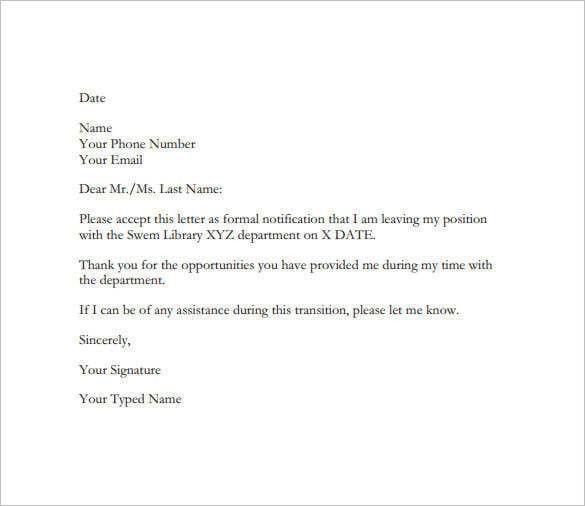 resignation letter format. microsoft word letter of resignation ...