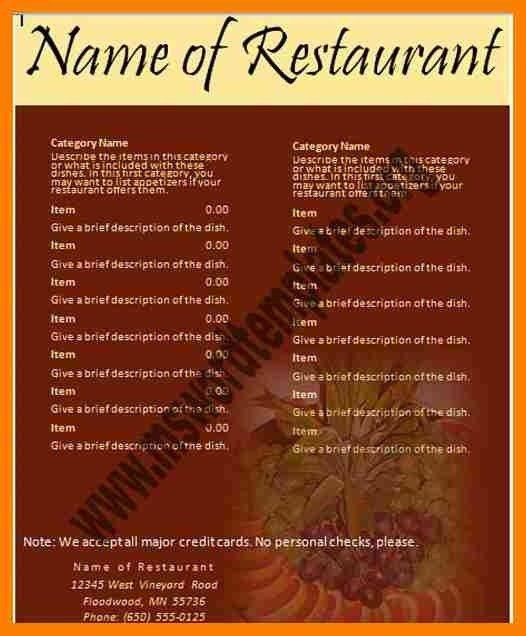 Microsoft Word Restaurant Menu Template | The Letter Sample