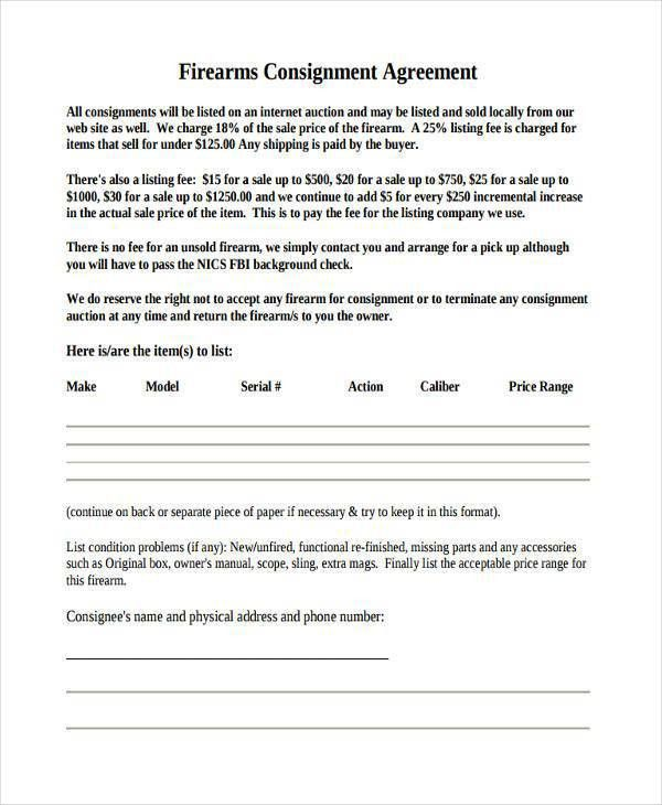 10 + Consignment Agreement Form Samples - Free Sample, Example ...