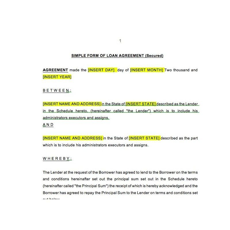 Secured Loan Agreement | Law4US Agreement Template