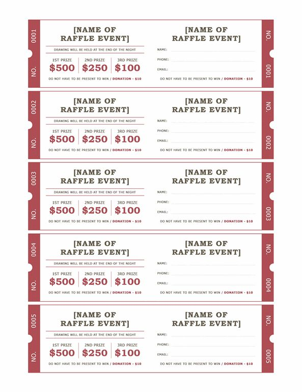 Raffle tickets - Office Templates