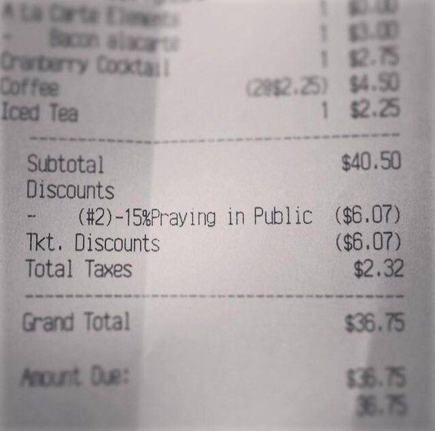 Restaurant forced to remove 'public prayer' discount after receipt ...
