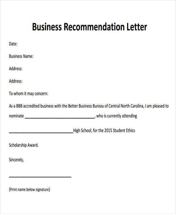 8+ Sample Business Recommendation Letter - Free Sample, Example ...
