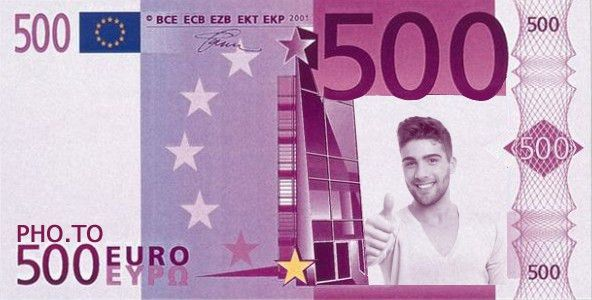 Put your face on a 500 euro note online