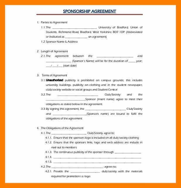 8+ sponsorship agreement format | janitor resume