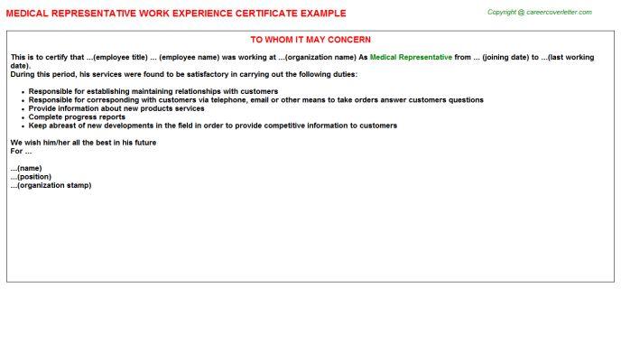 Medical Representative Work Experience Certificate