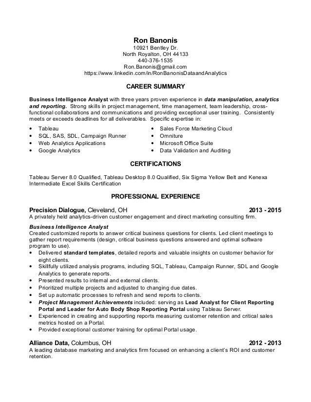 Simple Career Summary plus Alliance Data Data Analyst Resume ...