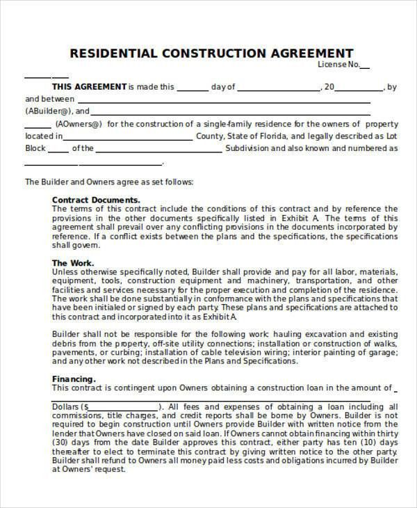 25 Construction Agreement Forms