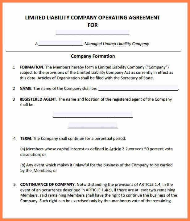 Business Operating Agreement Sample. Operating-Agreement-Template ...