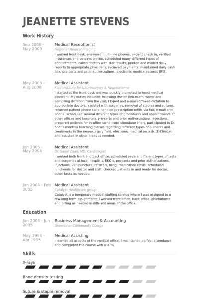 Charming Design Medical Receptionist Resume 3 Medical CV Template ...