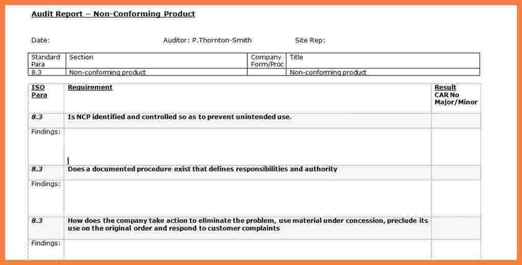 5+ internal audit report template iso 9001 | Progress Report