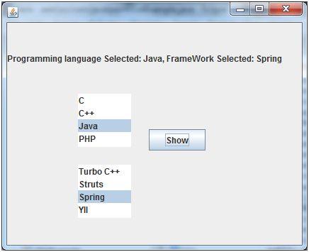 Java JList - javatpoint