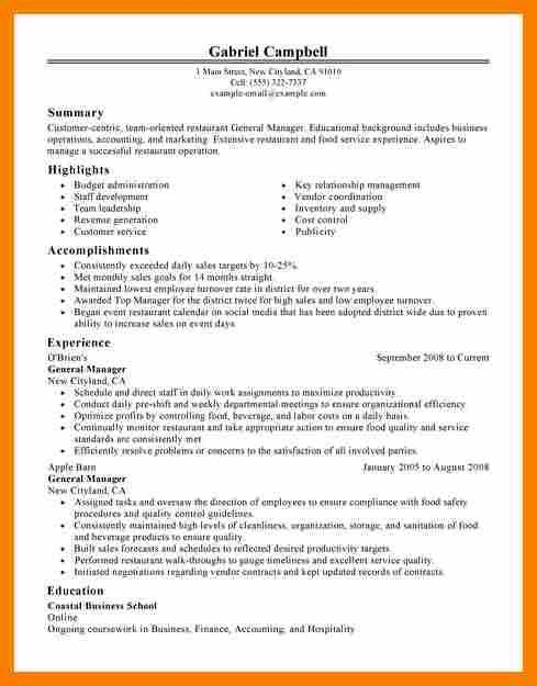 Restaurant General Manager Cv.Job Resumegeneral Manager Resume ...