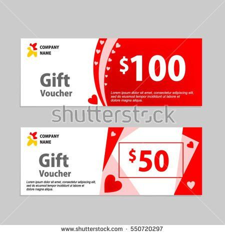 Valentine Gift Voucher Card Template Design Stock Vector 550720297 ...
