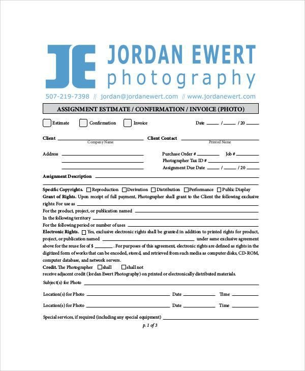 Sample Photography Invoice - 6+ Examples in Word, PDF