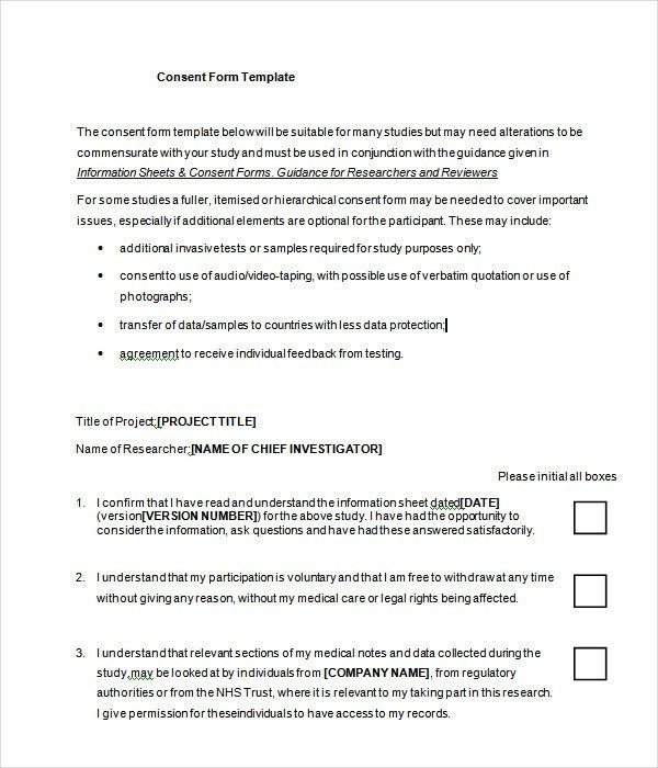 Research Consent Form Template. Research Consent Form Template ...