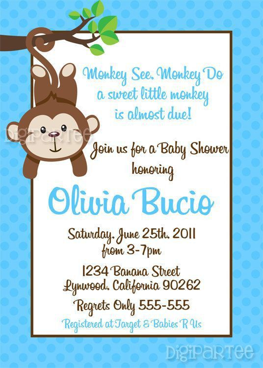 Monkey Baby Shower Invitations Templates Free | THERUNTIME.COM