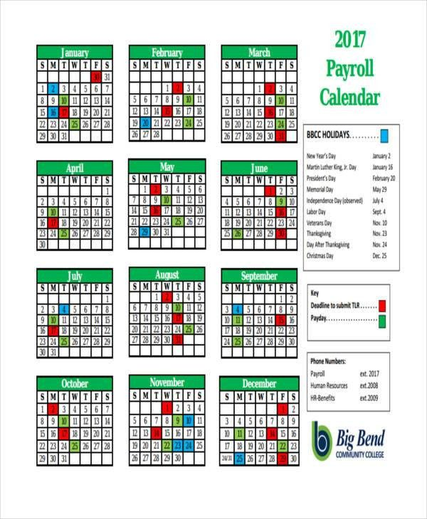 7+ Payroll Calendar Templates - Sample, Example   Free & Premium ...