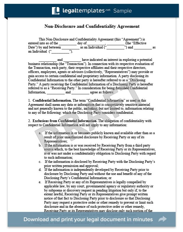 Non-Disclosure Agreement Template Library | Legal Templates